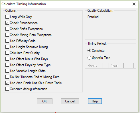 Calculate Timing Options